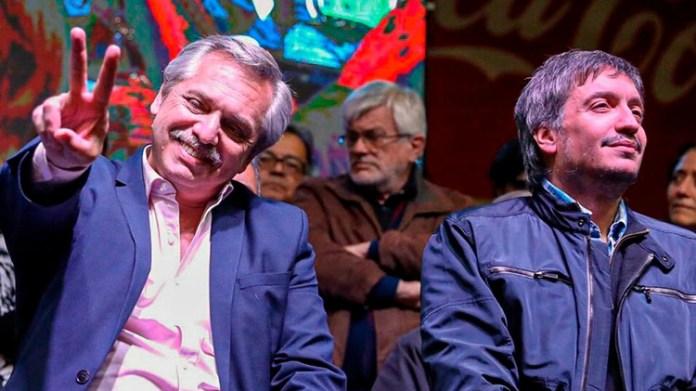 Alberto Fernández y Máximo Kirchner en Lanús