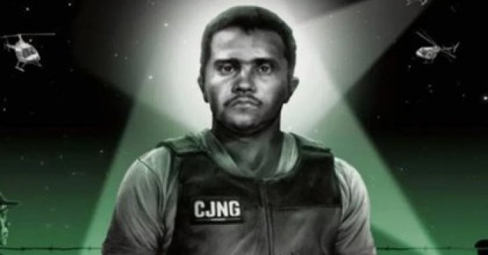 """The illustration with which the French newspaper accompanied its article on the leader of the Jalisco Nueva Generación Cartel (CJNG), Nemesio Oseguera Cervantes """"El Mencho"""".  (Image courtesy Le Monde)"""
