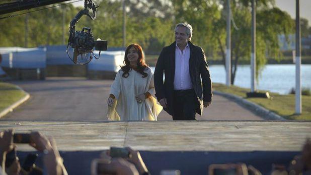 Cristina Kirchner y Alberto Fernández el 17 de octubre pasado, en La Pampa (Gustavo Gavotti)