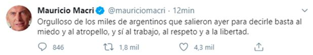 Tuit Macri - Repercusiones 17A