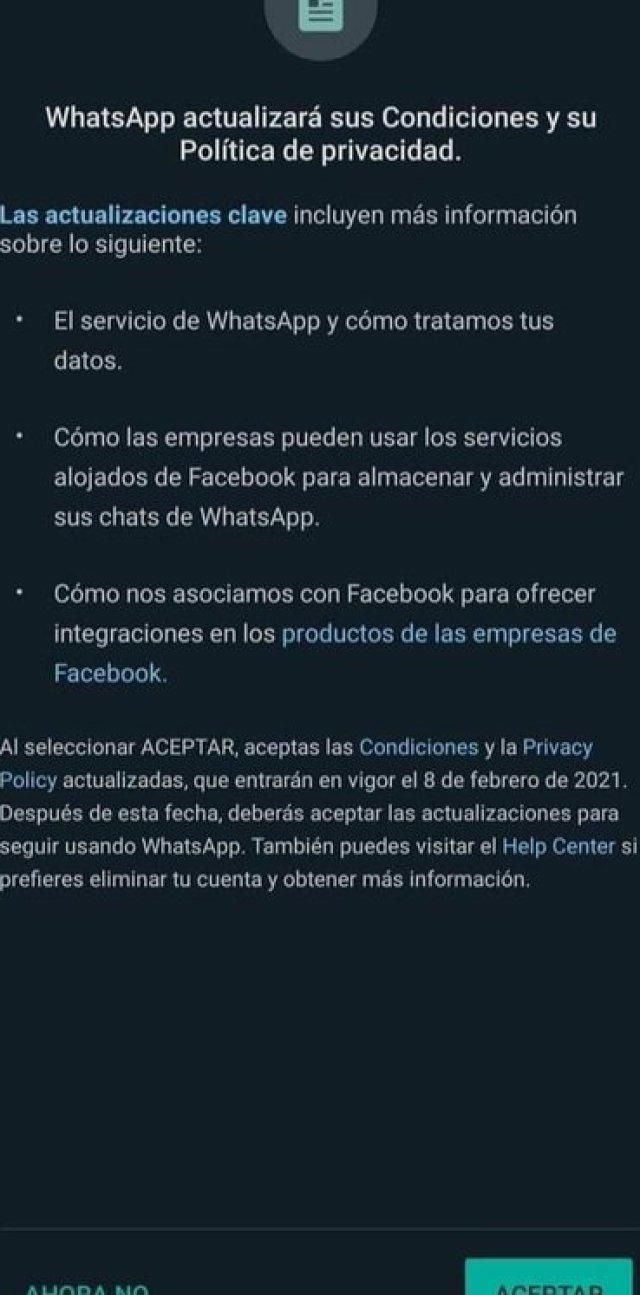 Anuncio sobre las nuevas políticas de WhatsApp (Foto: Captura de pantalla)