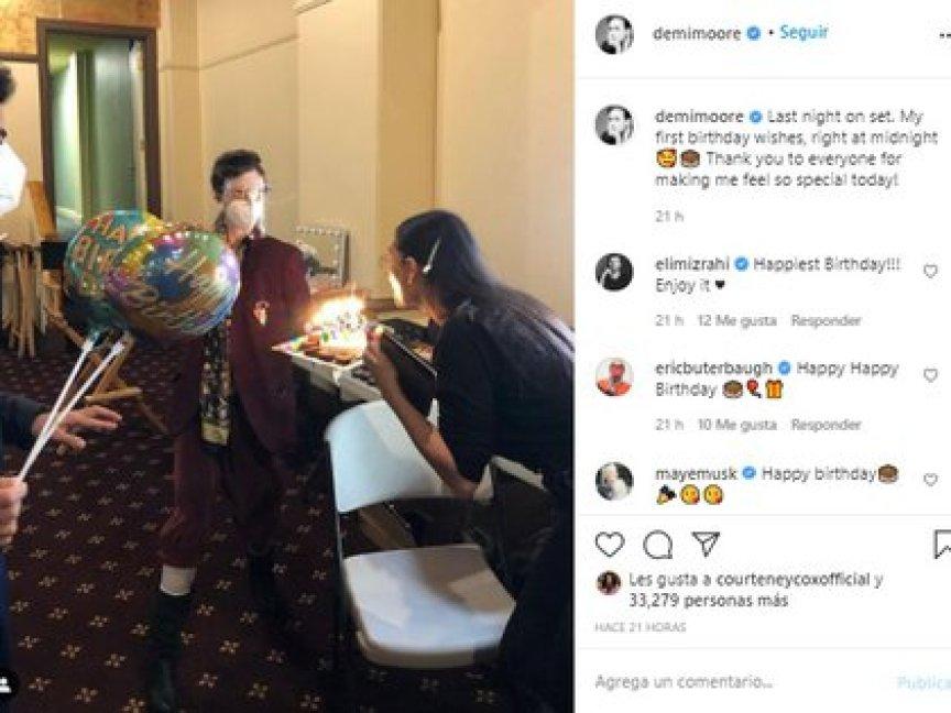 La propia Demi Moore utilizó su cuenta de Instagram para compartir los detalles de su celebración. (Instagram de Demi Moore)