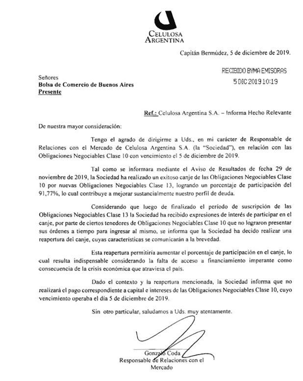 La notificación de Celulosa Argentina a la Bolsa de Comercio