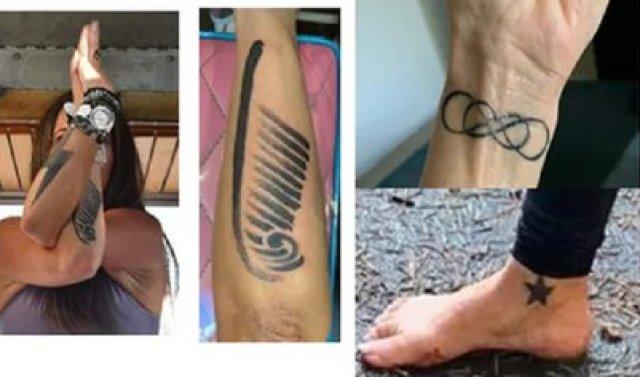 Algunos de los tatuajes de la mujer de 38 años, según una fotografía distribuida por el Servicio de Parques Nacionales de EEUU (Foto: National Park Service)