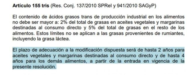 Artículo 155 tris del Código Alimentario Argentino