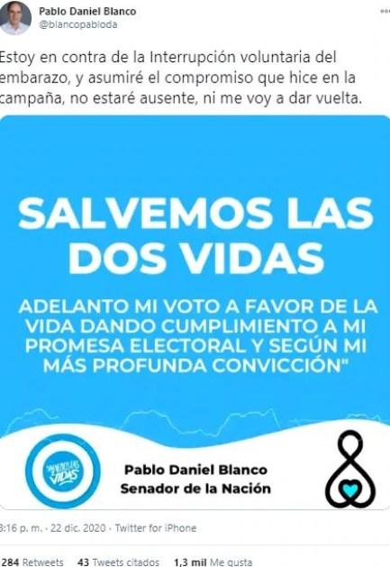 El senador Pablo Blanco, de Tierra del Fuego, anticipó que votará en contra