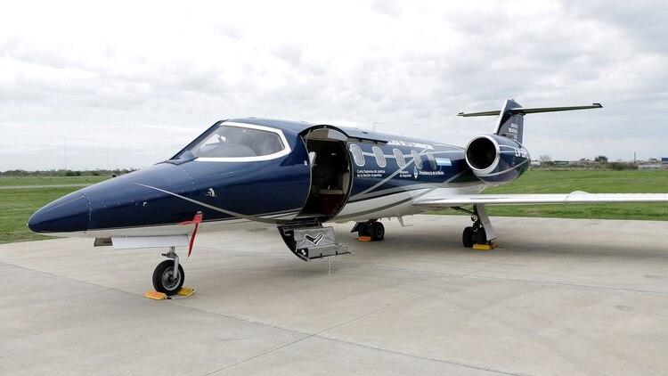 El Lear Jet que estuvo a disposición del Ministerio de Seguridad (Lihueel Althabe)
