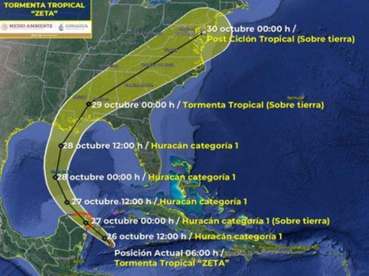 Trajectoire mise à jour de la tempête tropicale Zeta (Photo: SMN / Conagua Clima)