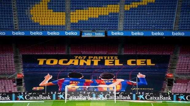 Foto homenaje a Messi y Xavi: