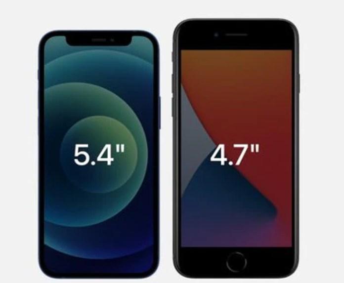 """El iPhone 12 mini tiene una pantalla de 5,4 pulgadas y es más pequeño que el iPhone 8 de 4,7"""""""
