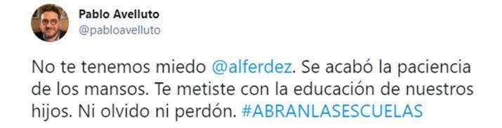 TUITS Pablo Avelluto contra el Gobierno y sobre las clases presenciales