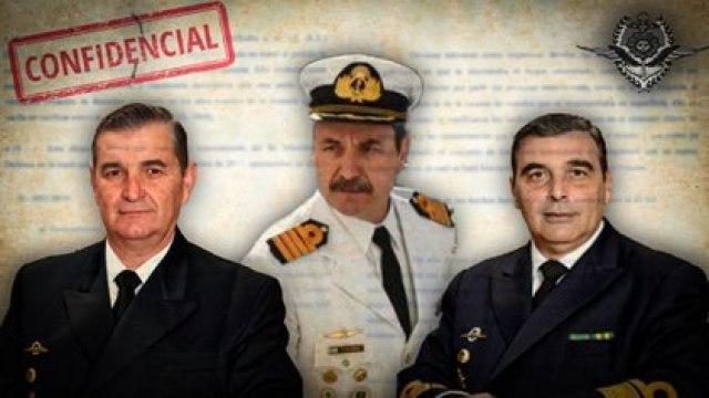 Marcelo Srur, Claudio Villamide y Enrique López Mazzeo, los tres principales altos mandos de la Armada sancionados por el hundimiento del ARA San Juan. Villamide fue el único destituido de los tres. Los otros dos fueron castigados con días de arresto de cumplimiento efectivo