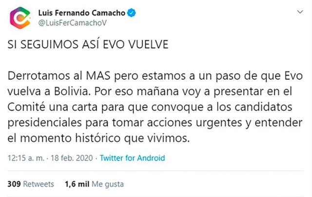 El tuit de Luis Fernando Camacho