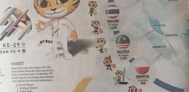 koran malaysia ikutan salah cetak bendera ri! Bodohnya Malaysia Sebagai Tuan Rumah Sea Games 2017