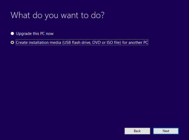 Create installation media-Install windows 10 from a USB drive