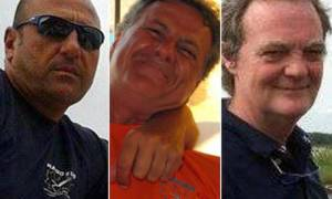 Da sinistra Mauro Cammardella, Mauro Tancredi e Silvio Anzola, i tre sub morti a Palinuro. +++ATTENZIONE LA FOTO NON PUO' ESSERE PUBBLICATA O RIPRODOTTA SENZA L'AUTORIZZAZIONE DELLA FONTE DI ORIGINE CUI SI RINVIA+++