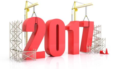57417969 - year 2017 growth, building, improvement in business or in general concept in the year 2017, on a white background