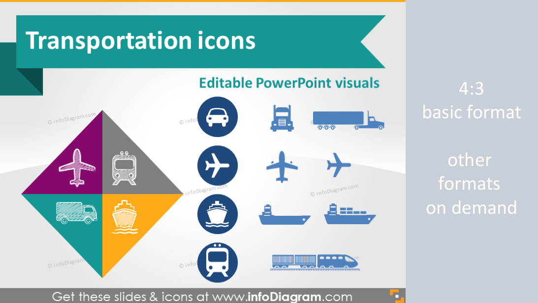 Transport Road Rail Water Ship Air Logistics Icon PowerPoint Clipart