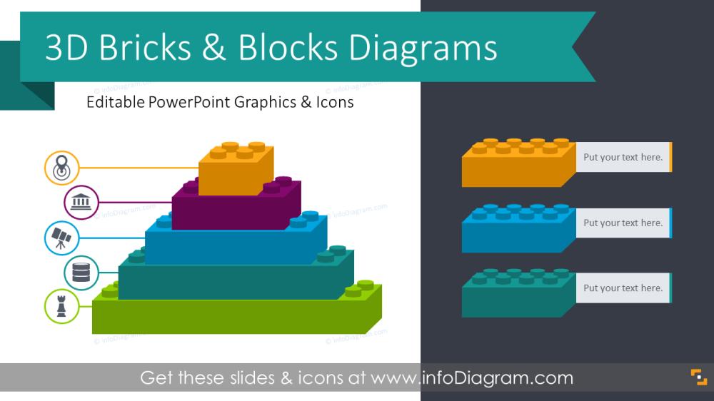 medium resolution of 3d bricks graphics blocks diagrams ppt template
