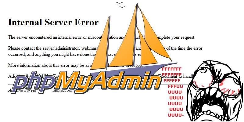 phpMyAdmin – Internal Server Error