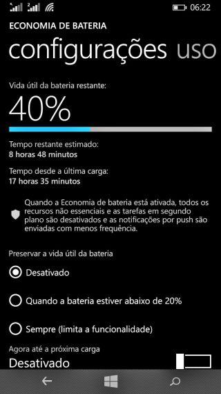 Duração da bateria do Lumia 730
