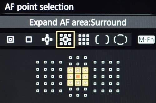 Memilih mode AF area dengan tombol M-Fn, ada banyak pilihan seperti Spot AF, 1 pt AF, Expand AF, Expand surround. Zone AF (9zone), Large Zone AF (3 zone) dan Auto