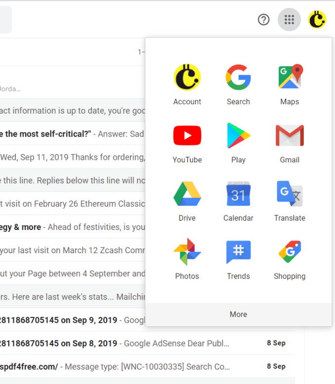Contacts tab in gmail