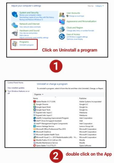 how to delete software in pc from control panel