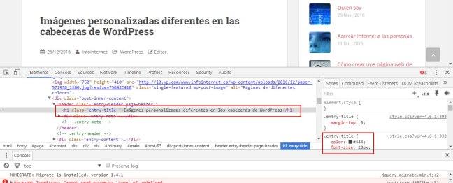 Inspeccionar código con el código seleccionado y los CSS