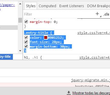 Código CSS seleccionado con el color deseado