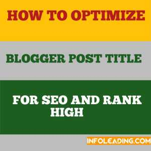 How to optimize blogger post title for seo