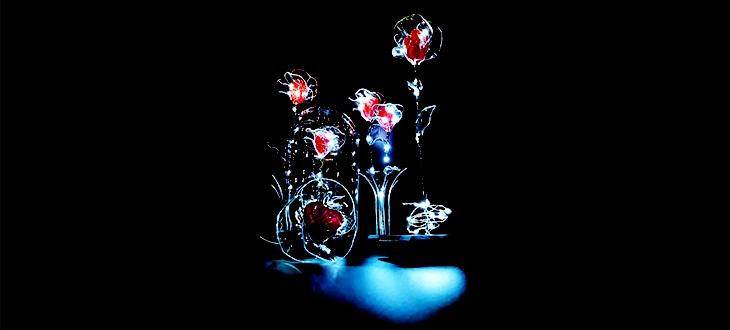 roses éternelles rouges lumineuses sur socle et cloche en verre
