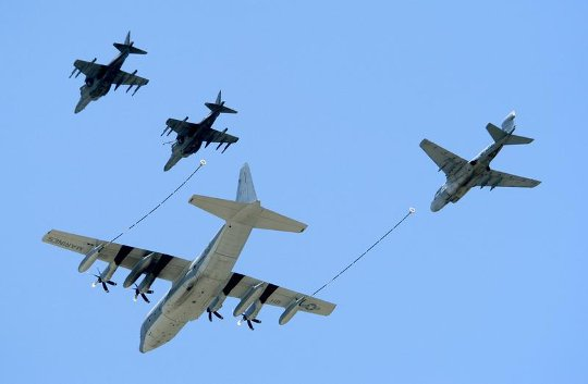 KC-130J refuels Prowler and Harrier