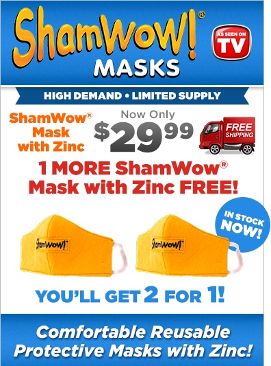 Shamwow Masks TV Offer