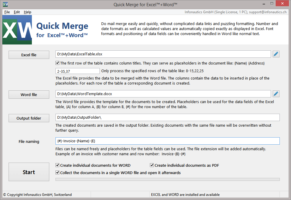 Quick Merge enables to easily and quickly mail merge correct currency, date and number formats from Excel to Word.