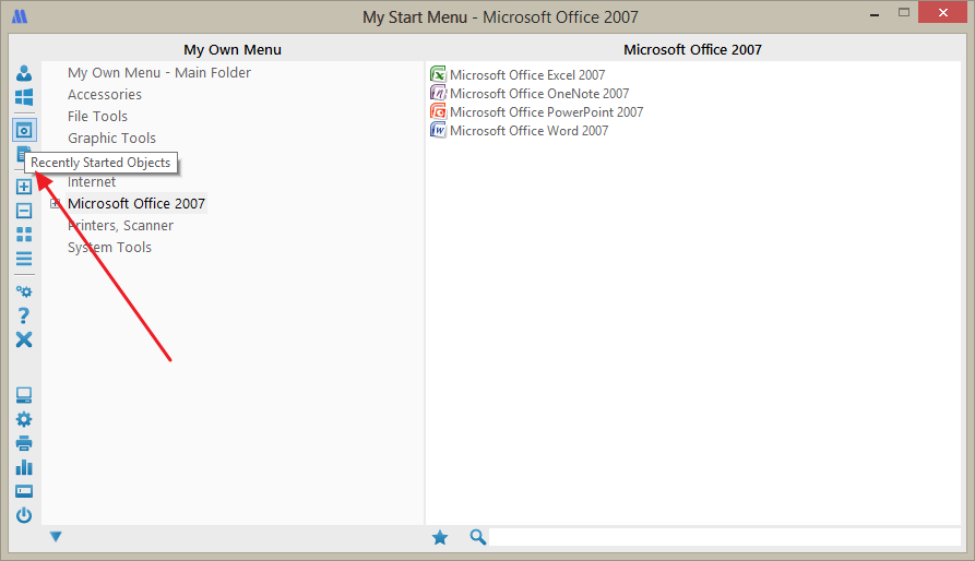 Recently started and opened objects in the start menu replacement My Start Menu