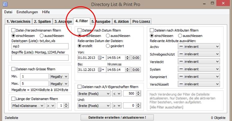 Filtermöglichkeiten des Verzeichnisinhalts