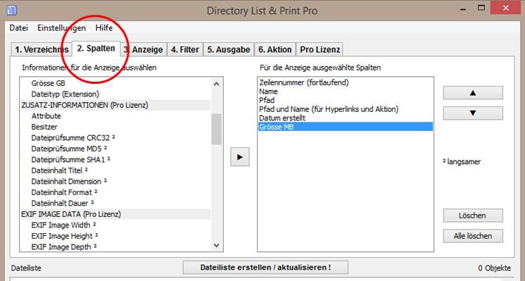 Spalten in Dateilisten bestimmen