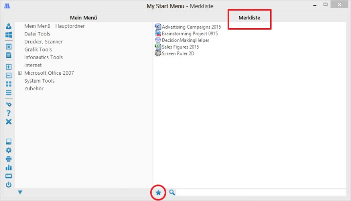 Merkliste erstellen in My Start Menu - Startmenü für Windows
