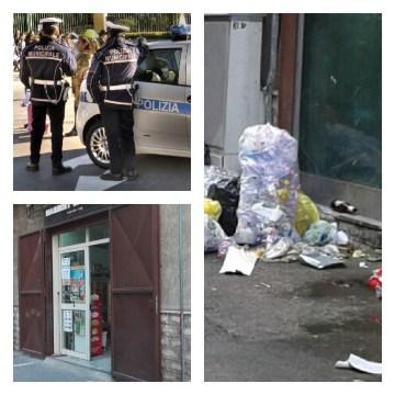 Sant'Antimo, Il titolare abbandona rifiuti per strada, gli agenti della municipale gli sequestrano il negozio di alimentari al centro storico