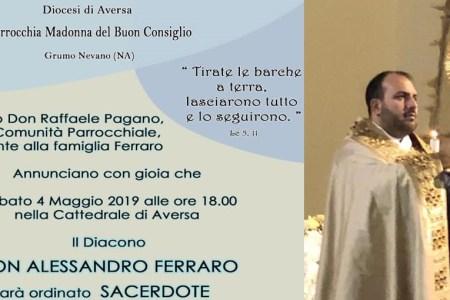 Grumo Nevano, Don Alessandro Ferraro ordinato sacerdote