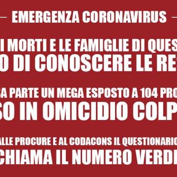 """Coronavirus, """"Accertare carenze ed omissioni  sui morti"""". Esposto del Codacons"""