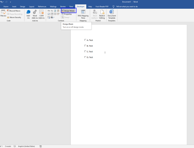 make a check box in word 2016