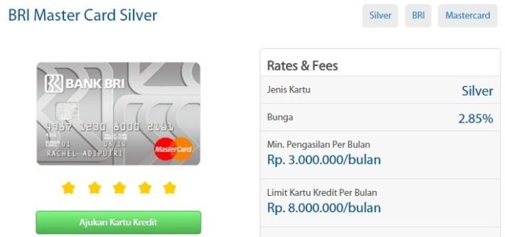 Kartu Kredit Master Card BRI Silver