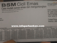 Tabel Kredit Emas BSM