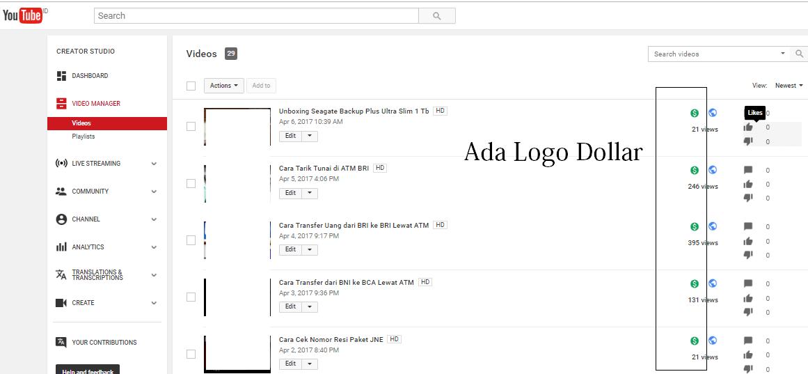 Muncul Logo Dollar di Youtube