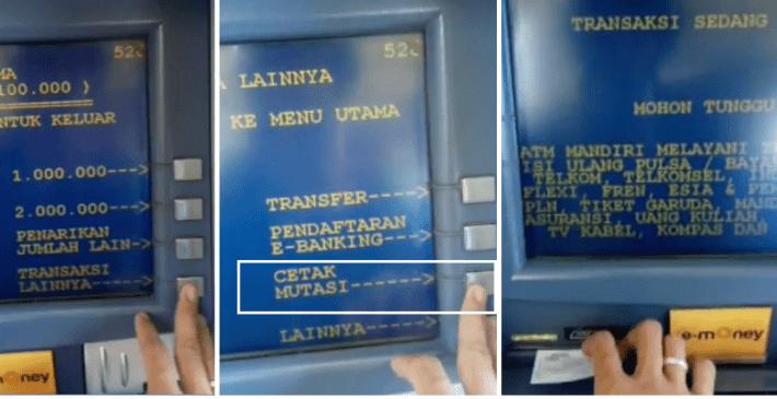 Cek Mutasi Mandiri di ATM