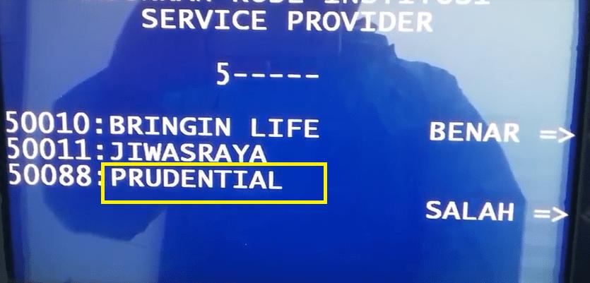 Bayar Prudential lewat ATM BRI