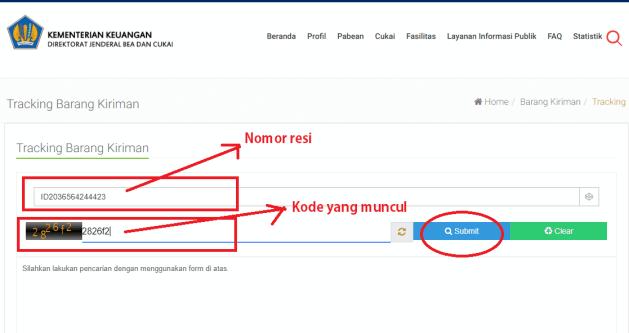 cek nomor resi standar express di website beacukai