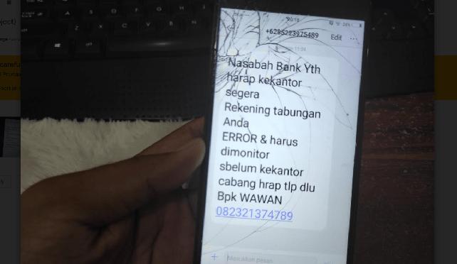 sms rekening tabungan error